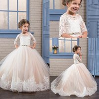 Wholesale Communion Dress Line Elegant - 2017 New Elegant Lace Appliques Flower Girl Dresses Sheer Crew Neck Beaded Half Sleeves Backless Kids Formal Wear with Beaded Belt