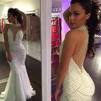Wholesale Hot Pink Backless Formal Dress - High Neck Mermaid Evening Dress 2017 New Hot Vestido De Festa Sexy White Illusion Pearls Long Party Formal Evening Gown
