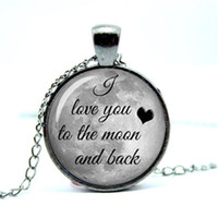 Wholesale Necklace Full Moon - 10pcs lot I love you to the moon and back, full moon pendant Glass Photo Cabochon Necklace