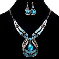 Womens Party Wedding Jewelry Sets Blue Crystal Choker Chunky Declaração Pendant Bib Necklace Earring Jewelry Set