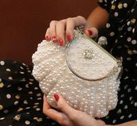 ingrosso nuove frizioni fatte a mano-vendita calda nuovo stile da sposa borse a mano diamante diamante perla pochette trucco borsa da sera festa nuziale borsa shuoshuo6588