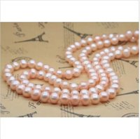 Wholesale Sterling Silver Claps - beautiful 8-9MM 35 inch south sea Natural gold pink pearl necklace gold claps
