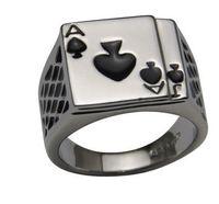 кольца для покера в покер оптовых-Мужские ювелирные изделия Коренастый черный эмаль Пики Прохладный покерное кольцо для мужчин