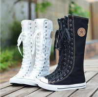 botas de rodilla de cordones al por mayor-Caliente ! Nueva llegada de las niñas con cordones hasta la rodilla botas mujeres estudiantes lienzo botas mujer casual botas damas zapatos de etapa zapatos de tacón plano