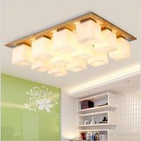sombra de vidrio oak lmparas de techo modernas para sala de estar lamparas de techo lmpara de techo de madera led luminaria