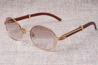 Wholesale Wood Black Eyeglasses Frames - Round Sunglasses Cattle Horn Eyeglasses 7550178 Wood Men and women sunglasses glasess Eyewear Size: 55-22-135mm