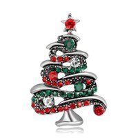 Wholesale Red Glass Christmas Tree - High-end fashion Rhinestone Christmas tree Brooch alloy diamond brooch