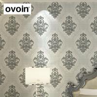 papel pintado blanco negro europeo del damasco papel pintado de plata textured papel pintado para el rodillo de las paredes