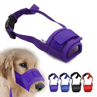 Wholesale mouth muzzles - Pet Dog Adjustable Mask Bark Bite Mesh Mouth Muzzle Grooming Anti Stop Chewing Free Shipping