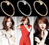 Wholesale Korea Fashion Nail - Fashion Korea Style Screws Nail Cuff Bangle Copper Crystal Love Bracelets Women Silver Rose Gold Black Trend