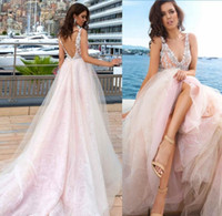 Wholesale Gown Dreses - Baby Pink 2017 Summer Beach Lace Wedding Dreses Soft Tulle Vintage Lace Applique V Backless Formal Long Bridal Gowns
