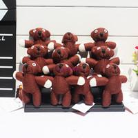 bayan beyna peluş oyuncak bebek toptan satış-Ücretsiz Kargo 10 adet / grup Teddy bear Peluş Anahtarlık Kolye Mr Bean Peluş Bebek Yumuşak Oyuncaklar 11 cm Toptan Ücretsiz Kargo