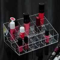 kleine probe lippenstifte großhandel-Lippenstift Display Rack 24 Grid Transparent Kosmetiktasche Kleine Probe Make-up Verschiedene Nagellack Aufbewahrungsbox Nützlich 3 8ql F R