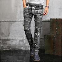 Wholesale Spliced Jeans - New Fashion Men Biker Jeans For Men Casual Washed Denim Splice Frayed Jeans Motorcycle Pants Skinny Jeans