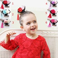 Wholesale Kids Hair Accessories Wholesale China - 2017 New Creative China Vintage Prince GEGE style big tassel flower Girls Hair Clips Kids Hairpins Barrettes Children Hair Accessories