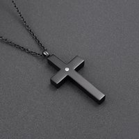 Wholesale cremation jewelry cross - CMJ9848 Black Stainless Steel Slim Cross Cremation Urn Jewelry necklace Mens Keepsake memorial pendants for ashes