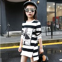 Wholesale Next Kids Clothes Girls - 2017 Spring Autumn Girls Children's Stripe Printed Asymmetrcal Clothes Infant Kids Costume Princess Baby Next Party Dresses