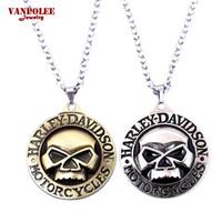 Wholesale Enamel Link Necklace - Harley Motorcycle Necklace&Pendant Skull Symbol Logo Metal Enamel Necklace High Quality Silver Simple Bohemian Necklaces for Man