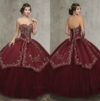 Wholesale Quinceanera Ladies Ball Gowns - burgundy Emboridery Ball Gown Quinceanera Dresses Sexy Back Applique Sweet Sixteen Dress Vintage Sweetheart First Lady Gowns