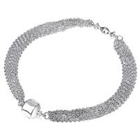Wholesale Silver Multi Heart Bracelet - 925 Sterling Silver Charm Bracelet Clip Clasp Bracelets Multi Strand Chain Bangle Fit European Bead For Women DIY Original Jewelry