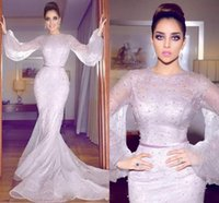 Wholesale Drape Puff Sleeve - Major Beading Puff Long Sleeves Prom Dresses Long Jewel Lace Pearls Mermaid Evening Gowns Sleeves Sweep Train Illusion African Party Dress