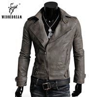 Wholesale Korean Clothes Fashion Free Shipping - Wholesale- Free Shipping Hot Sale High Quality 2017 New Fashion Korean Men's Slim Fit 4 Color Male Clothing PU Leather Jacket Outerwear