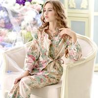 Wholesale Xs Pajama Set - Wholesale- Pijama Promotion Pijamas New 2017 Women Pajama Sets 100% Cotton Sleepwear Long Sleeve Floral Lounge Set Leisure Homewear 9643