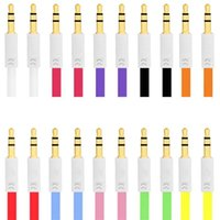 3.5 mm colorido plano fideos Aux audio cable auxiliar Jack macho a macho enchufe cable estéreo para Iphone 6plus altavoz del teléfono móvil