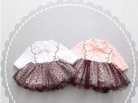 Wholesale Long Sleeve Piles Collar - 2017 new arrivals girls long sleeve red heart pile coating gauze skirt dress girl's elegant Spring Dresses 2 colors