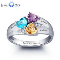 Wholesale Engraved 925 - Personalized Engrave DIY Birthstone Jewelry Heart Stone Name Ring 925 Sterling Silver family Ring Mom's Gift (JewelOra RI101793)