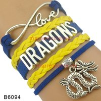 Wholesale Leather Dragon Bracelet - (10 Pieces Lot) Infinity Love Dragons Bracele Dragon Charm Bracelet Blue Yellow Leather Wrap Custom Any Themes Drop Shipping
