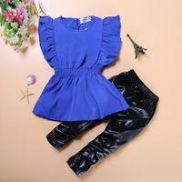 vestido azul terno crianças venda por atacado-Atacado-JT-078 Retail 2016 novo bebê meninas set crianças conjuntos de roupas vestido de camisa azul + leggings pretas bebê fresco crianças terno frete grátis