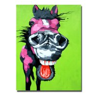 Wholesale Funny Pictures Cartoon - 2016 new free design cartoon donkey oil painting funny animal wall pictures Paintings for Living Room Wall