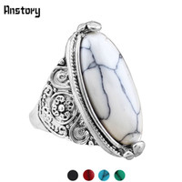 Wholesale Antique Turquoise Jewelry - Fashion Jewelry Vintage Look Tibetan Alloy Antique Silver Plated Personality White Oval Turquoise Ring TR362