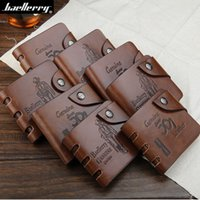 Wholesale Brown Trifold - Men PU Leather Bifold ID Card Holder Wallets Pocket Purse Burse Trifold Brown 8 Short Styles Hasp Open A318