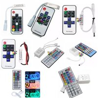 Wholesale Rf Remote Dimmer - 10Key 17Key LED Controller Mini RF Wireless LED Remote Controller 2 Ports 44Key IR Remote Dimmer for RGB RGBW LED Strips