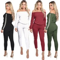 Wholesale Fashion Ankle Support - Fashion solid color sexy strapless long-sleeved pockets line piece of pants two sets of support to support mixed batch