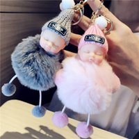 Cores New Fashion Lovely Fluffy Sleep Baby Shape Plush Dolls Chaveiro Mulheres Handbags Cute Gift For Car Keyring Toy