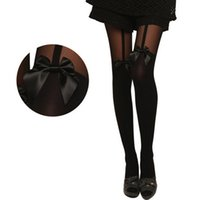 Wholesale Mock Knee High Tights - Wholesale- New 2016 Fashion Women Tights Bow Pantyhose Tattoo Mock Bow Suspender Sheer Lace Nylon Long Stockings Fishnet Knee High
