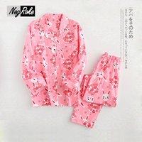 Wholesale Cute Sexy Pajamas For Women - 2017 Spring Fresh Korea cute rabbit pajamas for women 100% cotton Mori Girl womens pajamas sets Long sleeve pijamas feminino
