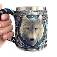 Cheap led meetings - Creative Marks Wolves Christmas Halloween Gifts Individuality 3D Leading Resin Cup Home Meeting Stainless Steel Coffee Mug