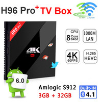 Wholesale 3g Media Player - H96 Pro+ 3G DDR3 32G Amlogic S912 Octa Core Android 7.1 TV Box BT4.0 2.4G 5GHz Wifi 1000M LAN 4K Smart Media Player H96 Pro Plus