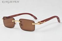 Wholesale Eye Glasses Temple - High quality Brand Men Sunglasses Clear lenses Gold Metal Temples White Buffalo Horn Glasses Women Eyewear Female oculos De Sol