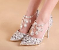 Wholesale Bling Rhinestone Shoes - Womens Chic Wedding Diamond Ankle Belt Rhinestones Crystal Shoes Bling Party High heel Pumps Stilettos Plus Size MYR8027