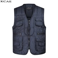 Wholesale Cotton Casual Vests For Men - Wholesale- 2016 Winter thickening Sleeveless Vest for Shooting pocket Men Causal Journalist Photographer Vests Jackets Free Shipping