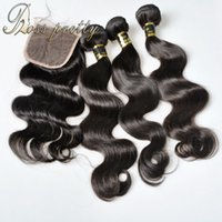 Wholesale Pretty Virgins - Ross Pretty Hair Quality 7a Brazlian Virgin hair with closure human hair bundles with Lace closure Brazilian body wave with closure 4x4