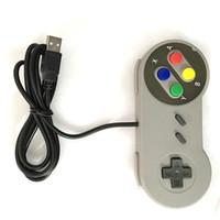 usb snes controller para pc al por mayor-USB con cable Gamepad 6 botón digital Joypad SNES SFC controlador clásico para Windows PC / MAC