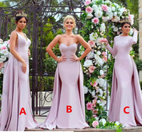 Wholesale Made Honour Dresses - Stylish Appliqued Pink Long Bridesmaid Dresses 2017 Strapless Soft Satin Long Sleeve Wedding Guest Dress Maid Of The Honour Gowns