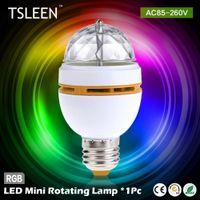 Wholesale Socket Light Convertor - Wholesale- +Flash Sale+ E27 3W Full Color Stage DJ Lamp Light RGB Crystal Auto Rotating LED Bulb + Lamp Convertor Holder Socket Base #