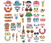 Wholesale party tropical - 60pcs Luau Photo Booth Props - Hawaiian Tropical Tiki Summer Pool Party Decorations Supplies